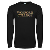 Black Long Sleeve TShirt-Wofford College Stacked