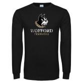 Black Long Sleeve TShirt-Wofford Terriers w/ Terrier Distressed