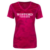 Ladies Pink Raspberry Camohex Performance Tee-Wofford Terriers Word Mark