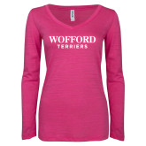 ENZA Ladies Hot Pink Long Sleeve V Neck Tee-Wofford Terriers Word Mark