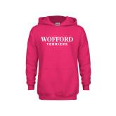 Youth Raspberry Fleece Hoodie-Wofford Terriers Word Mark