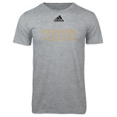 Adidas Sport Grey Logo T Shirt-Wofford College Stacked