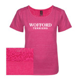 Ladies Dark Fuchsia Heather Tri-Blend Lace Tee-Wofford Terriers Word Mark