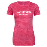 Next Level Ladies Junior Fit Fuchsia Burnout Tee-Wofford Terriers Word Mark