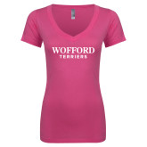 Next Level Ladies Junior Fit Deep V Pink Tee-Wofford Terriers Word Mark