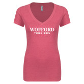 Next Level Ladies Vintage Pink Tri Blend V-Neck Tee-Wofford Terriers Word Mark