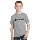 Youth Grey T-Shirt-Wofford Terriers w/ Terrier Flat