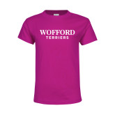 Youth Fuchsia T Shirt-Wofford Terriers Word Mark