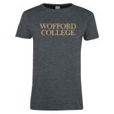 Ladies Dark Heather T Shirt-Wofford College Stacked