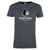 Ladies Dark Heather T Shirt-Wofford Terriers w/ Terrier
