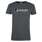 Ladies Dark Heather T Shirt-Wofford Terriers w/ Terrier Flat