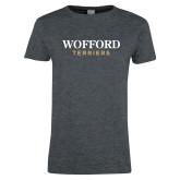 Ladies Dark Heather T Shirt-Wofford Terriers Word Mark