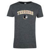 Ladies Dark Heather T Shirt-Terriers Arched w/ Terrier
