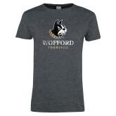 Ladies Dark Heather T Shirt-Wofford Terriers w/ Terrier Distressed