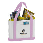 Contender White/Pink Canvas Tote-Wofford Terriers w/ Terrier