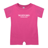Bubble Gum Pink Infant Romper-Wofford Terriers Word Mark