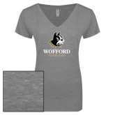 ENZA Ladies Graphite Melange V Neck Tee-Wofford Terriers w/ Terrier
