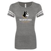 ENZA Ladies Dark Heather/White Vintage Triblend Football Tee-Wofford Terriers w/ Terrier