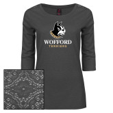 Ladies Charcoal Heather Tri Blend Lace 3/4 Sleeve Tee-Wofford Terriers w/ Terrier