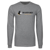 Grey Long Sleeve T Shirt-Wofford Terriers w/ Terrier Flat