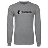 Grey Long Sleeve T Shirt-Wofford Terriers w/ Terrier Flat