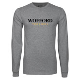 Grey Long Sleeve T Shirt-Wofford Terriers Word Mark
