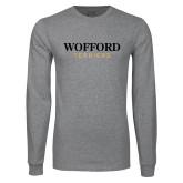 Grey Long Sleeve T Shirt-Wofford Terriers Word Mark