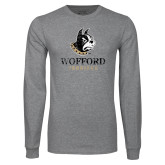 Grey Long Sleeve T Shirt-Wofford Terriers w/ Terrier Distressed