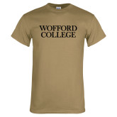Khaki Gold T Shirt-Wofford College Stacked