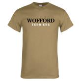 Khaki Gold T Shirt-Wofford Terriers Word Mark
