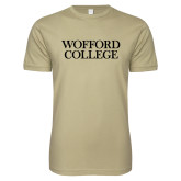 Next Level SoftStyle Khaki T Shirt-Wofford College Stacked