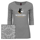 Ladies Grey Heather Tri Blend Lace 3/4 Sleeve Tee-Wofford Terriers w/ Terrier