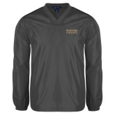 V Neck Charcoal Raglan Windshirt-Wofford College Stacked