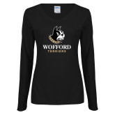 Ladies Black Long Sleeve V Neck T Shirt-Wofford Terriers w/ Terrier