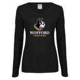 Ladies Black Long Sleeve V Neck Tee-Wofford Terriers w/ Terrier