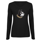 Ladies Black Long Sleeve V Neck T Shirt-Terrier