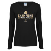 Ladies Black Long Sleeve V Neck T Shirt-2017 Football Champions