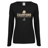Ladies Black Long Sleeve V Neck T Shirt-2017 Football Champions