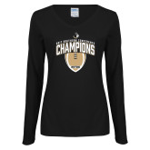 Ladies Black Long Sleeve V Neck T Shirt-2017 Football Champions Vertical Football