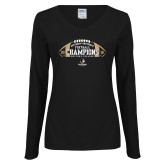 Ladies Black Long Sleeve V Neck Tee-2018 SoCon Football Champions