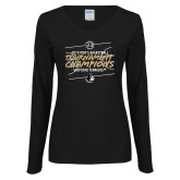Ladies Black Long Sleeve V Neck Tee-2019 Mens Basketball Champions