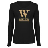 Ladies Black Long Sleeve V Neck Tee-W Wofford
