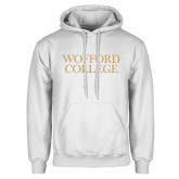 White Fleece Hoodie-Wofford College Stacked