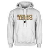 White Fleece Hoodie-Wofford College Terriers Stacked