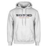 White Fleece Hoodie-Wofford Terriers Word Mark