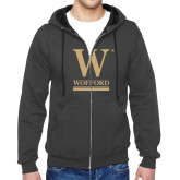 Charcoal Fleece Full Zip Hoodie-W Wofford