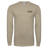 Khaki Gold Long Sleeve T Shirt-Wofford College Stacked
