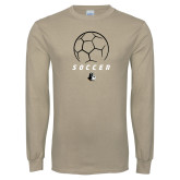Khaki Gold Long Sleeve T Shirt-Wofford Soccer Stacked