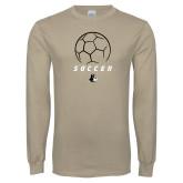 Khaki Gold Long Sleeve T Shirt-Wofford Soccer Stacked