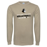 Khaki Gold Long Sleeve T Shirt-Wofford College Volleyball Can You Dig It